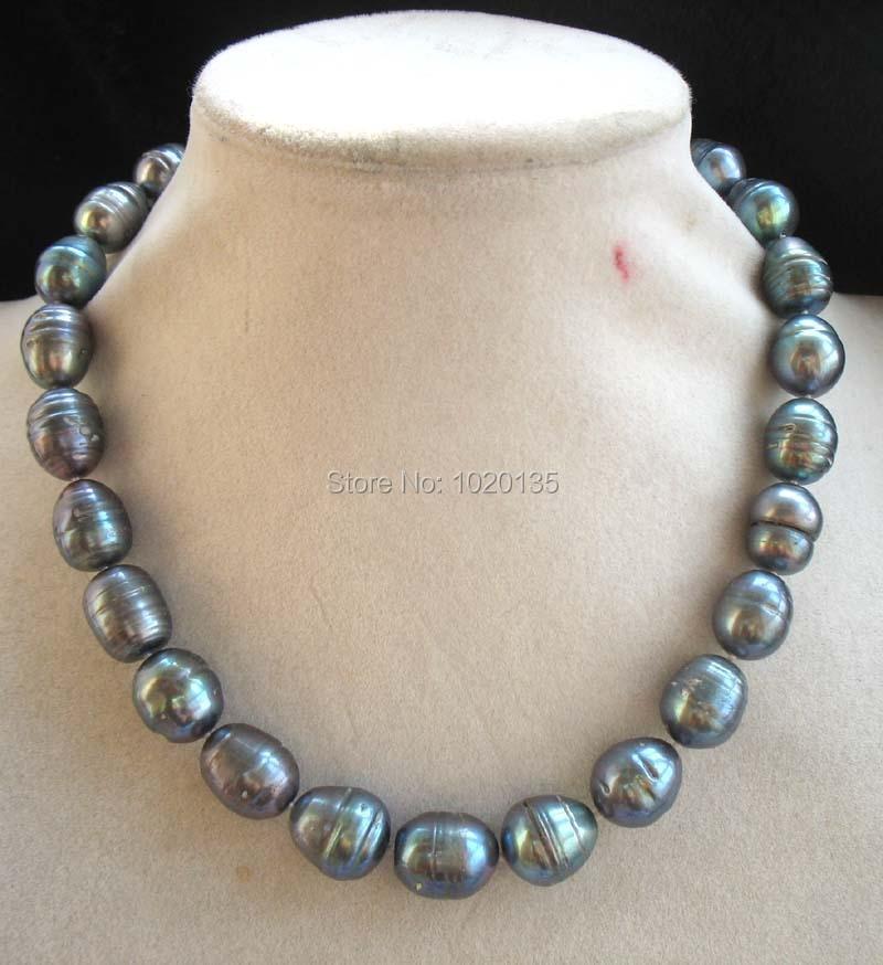 48ee50b75fb4 Perla Negro huevo 13-15mm collar al por mayor rebordea la naturaleza tamaño  grande regalo caliente 2016 fppj
