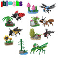 IBLOCKS 367pcs Animal Series Insect Ladybug Dragonfly Mantis Bee Figures Plastic Building Blocks Set Educational Children Toys