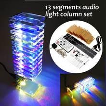 Leroy 13 unids Tablero de cristal LED analizador de espectro de música USB 3D led light Cube kit audio RC espectro DAC para música MP3 Amplificadores