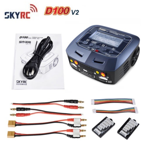 SKYRC AC / DC 100-240V SKYRC D100 V2C 2X100W Dual Balance 1-6S  Charger D100 for RC Model Airplane Multicopter