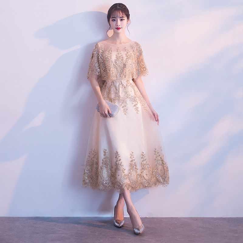 d8dfb45146473 It's YiiYa O-neck Shawl Beading Bridesmaid Dresses Elegant Lace  Ankle-length Slim A-line Frocks H256