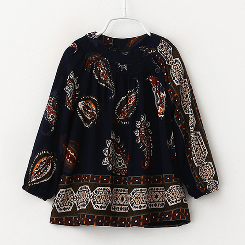 New Long Sleeve O-Neck Blouses & Shirts for Girls Flower Kids Children's Shirt Girls Clothes Baby Girl Clothing Blouses Infantis