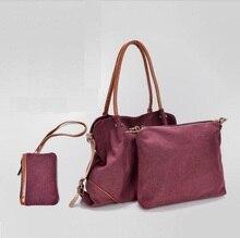 Moda 3 unids/set Compuesta Lienzo bolso de Las Mujeres de Moda bolsas de Hombro Mujeres Bolsas de Mensajero Con buena calidad