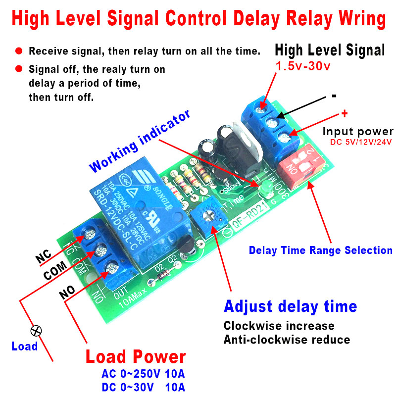 Dykb DC 5V 12V 24V High Signal Off Delay Turn Off / On Timer Relay Module Switch PLC Signal Monitoring Automatic Closing