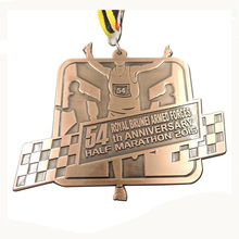 Customized Marathon medal hot sales antique brass sports Medal cheap custom made metal medals with ribbons