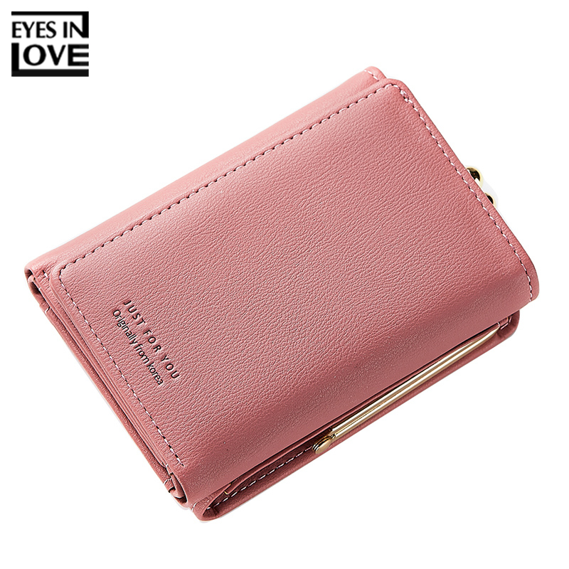 купить EYES IN LOVE Trifold Women Wallets Clamp Coin Bag Artificial Leather Ladies Small Purse Card Holder Female Wallet Carteira по цене 542.62 рублей