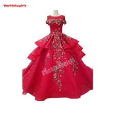 1441 Ball Gown Ruffled Wedding Dress Short Sleeve Red