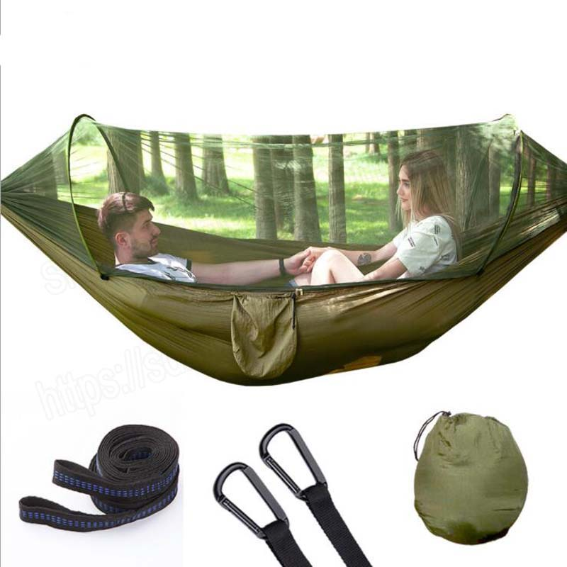 250X120CM Automatic unfolding hammock ultralight parachute hammock hunting mosquito net double lifting outdoor furniture hammock