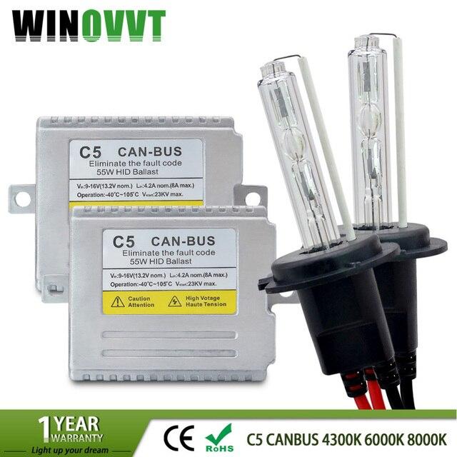 купить H7 ксенон C5 55 Вт H1 H3 H4 H11 HID лампы комплект 12В цвет
