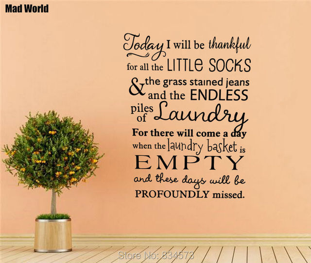Mad World Today I will be thankful laundry Wall Art Stickers Wall ...