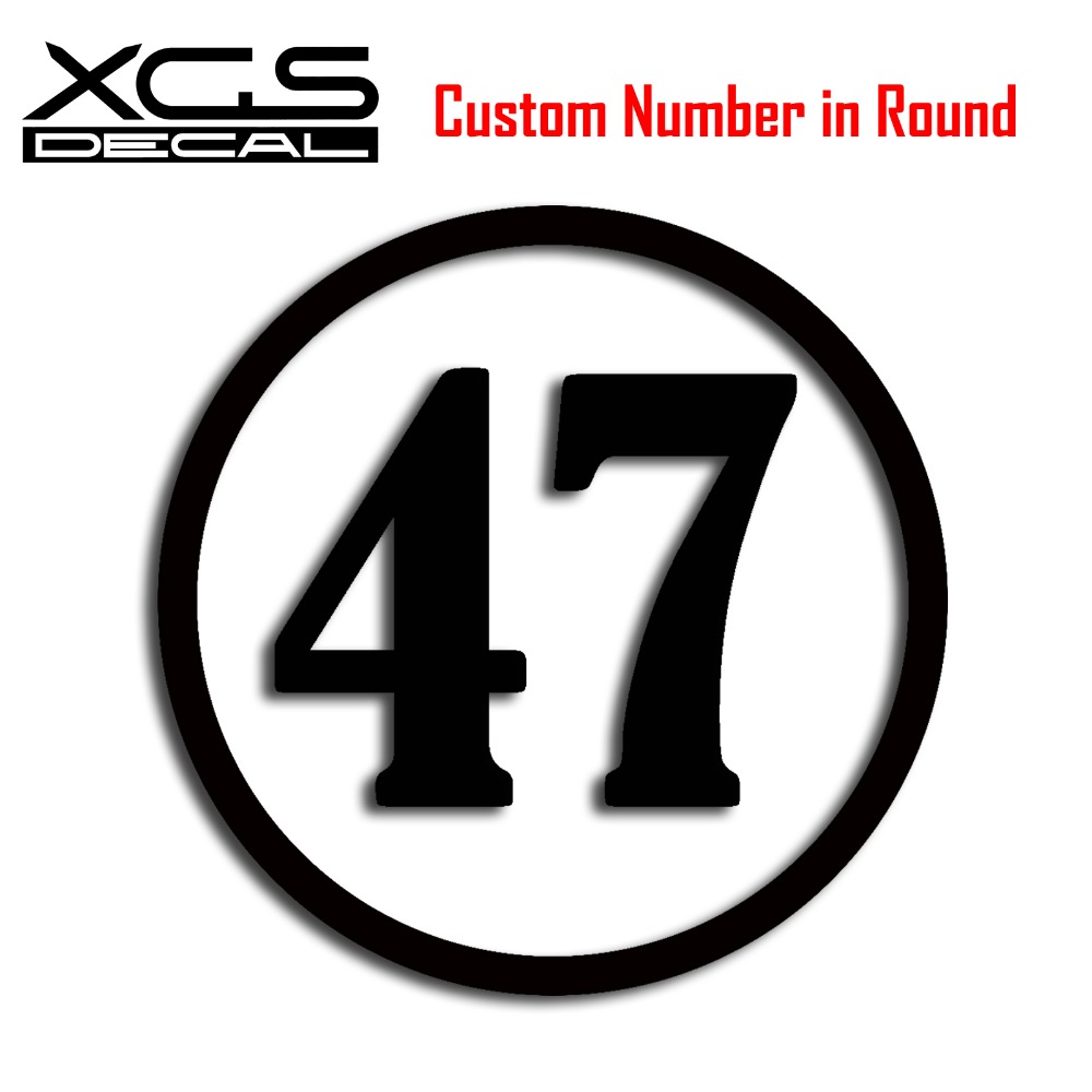 Xgs decal custom racing number in round vinyl die cut car motorcycle truck waterproof stickers
