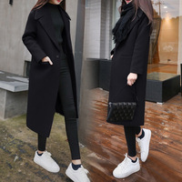 2019 Winter Coat For Women Wide Lapel Belt Pocket Woollen Cloth & Polyester Wool Blend Coat Oversize Long Trench Coats Outwear