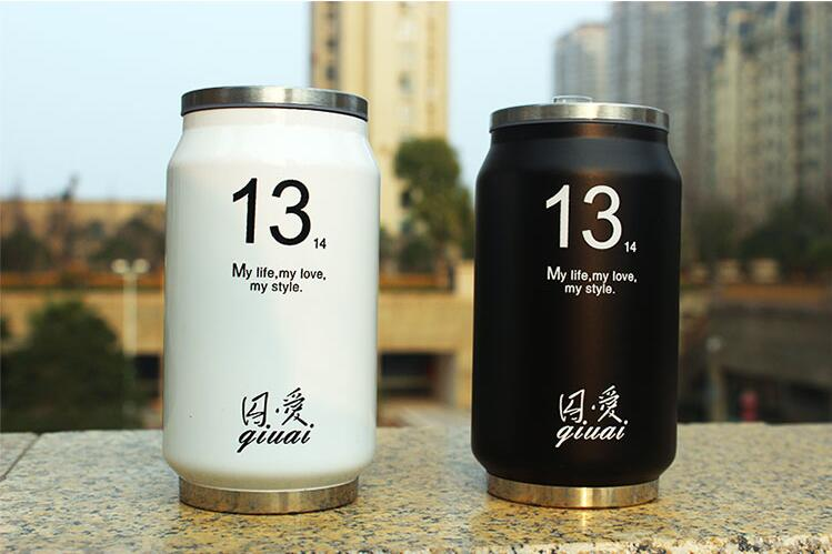 280 450ML Cute Thermos Beverage Can Stainless Steel Insulated Water Bottle Straw Thermo Cup Garrafa Termica