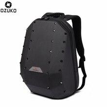 Ozuko 180 Degree Opening Fashion Men Women Backpack with  Rivet Decoration Shoulder Bags Breathable Shockproof Back Cushion