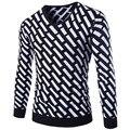 2016 Новый осенне-зимний мужской теплый свитер Slim Fit V-образным Вырезом смешанные цвета Англии Мода Пуловеры Шерстяной Свитер