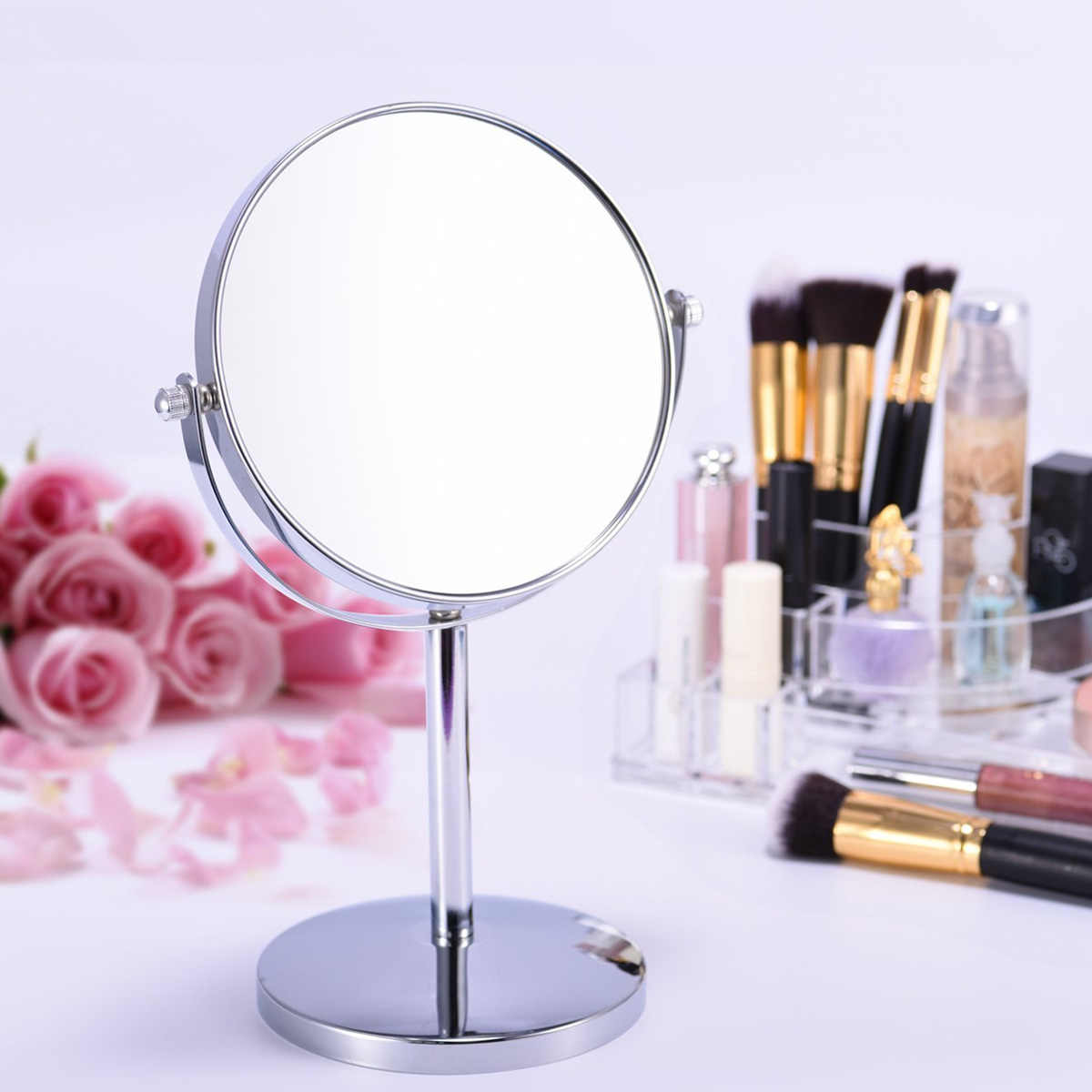Metal Magnifying Cosmetic Mirror Double Sided Lady Table Desk Standing Dresser Make Up Mirror Round Desktop Rotating Mirror