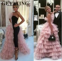 Elegante Zwarte Rechte Dubai Prom Jurken 2020 Roze Tulle Lange Arabische Avondjurken Tiered Ruffle Formele Vrouwen Formele Party Gown