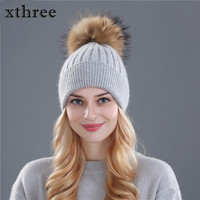 Xthree Winter Hat For Women Wool Knitting Hat Beanies 15cm Real Mink Fur Pom Poms Shiny