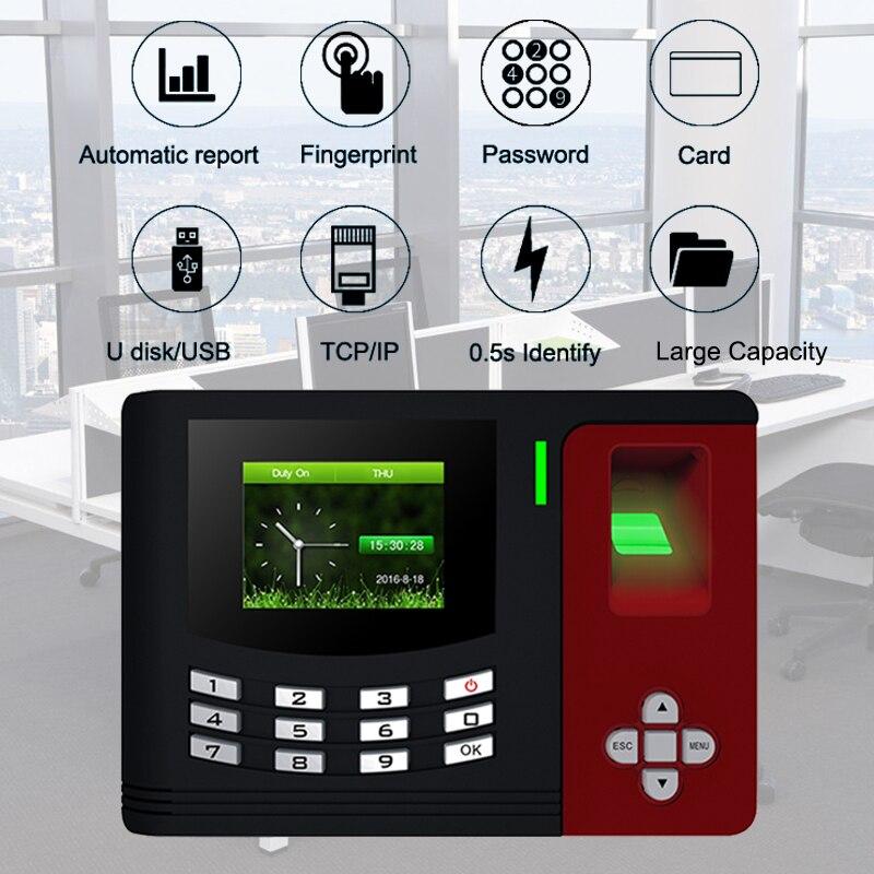 Fréquentation à Temps d'empreintes digitales Système TCPIP USB Biométrique D'empreintes Digitales Porte de Contrôle D'accès Clavier Time Clock Employés Bureau Machine