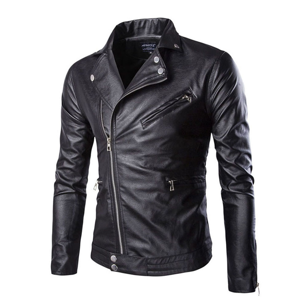 Men Leather Jacket 2018 Autumn Winter Casual Zipper PU Leather Jacket Motorcycle Leather Jacket Men Slim Fit Mens Jackets Coats
