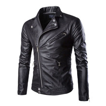 Men Leather Jacket 2018 Autumn Winter Casual Zipper PU Motorcycle Slim Fit Mens Jackets Coats