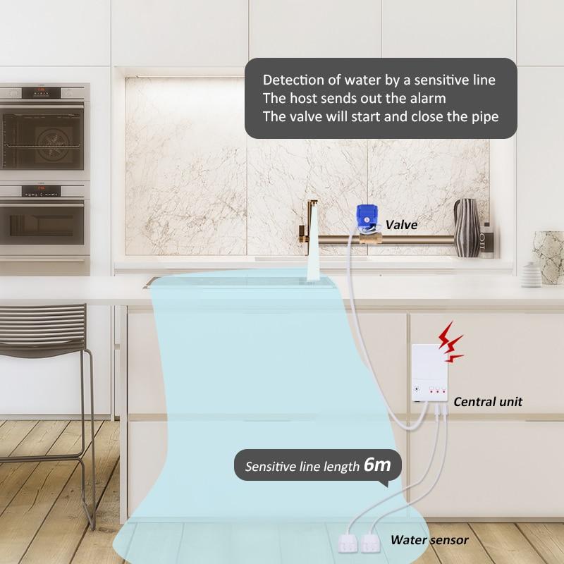 Детектор утечки воды с 2 шт 1/2 DN15 латунные клапаны для кухни дома умный датчик утечки воды Обнаружение перелива потока 2019 - 5