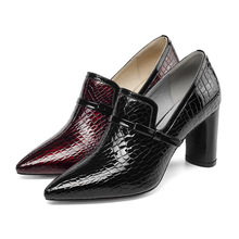 Famous brand 2019 spring and summer high-end womens single shoes thick with pointed leather bow breathable high heels women