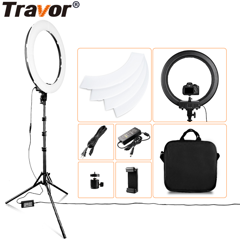 Travor 18 inch LED Ring Light Dimmable Bi color 512PCS Annular Lamp With Tripod For Studio