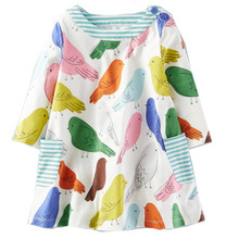 Girls Dress 2017 Autumn England Style Girls Clothes Long Sleeve Cartoon Animals Prints for Baby Girl Clothes Children Clothing