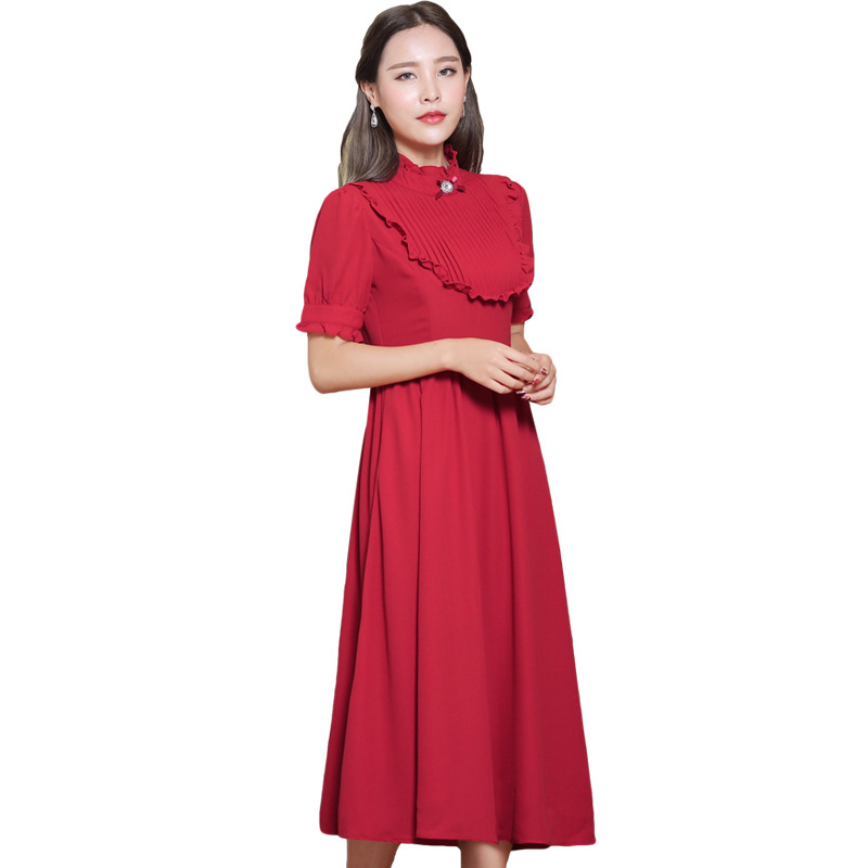 Dress Polyester Dresses Women Dresses Vintage Pleated