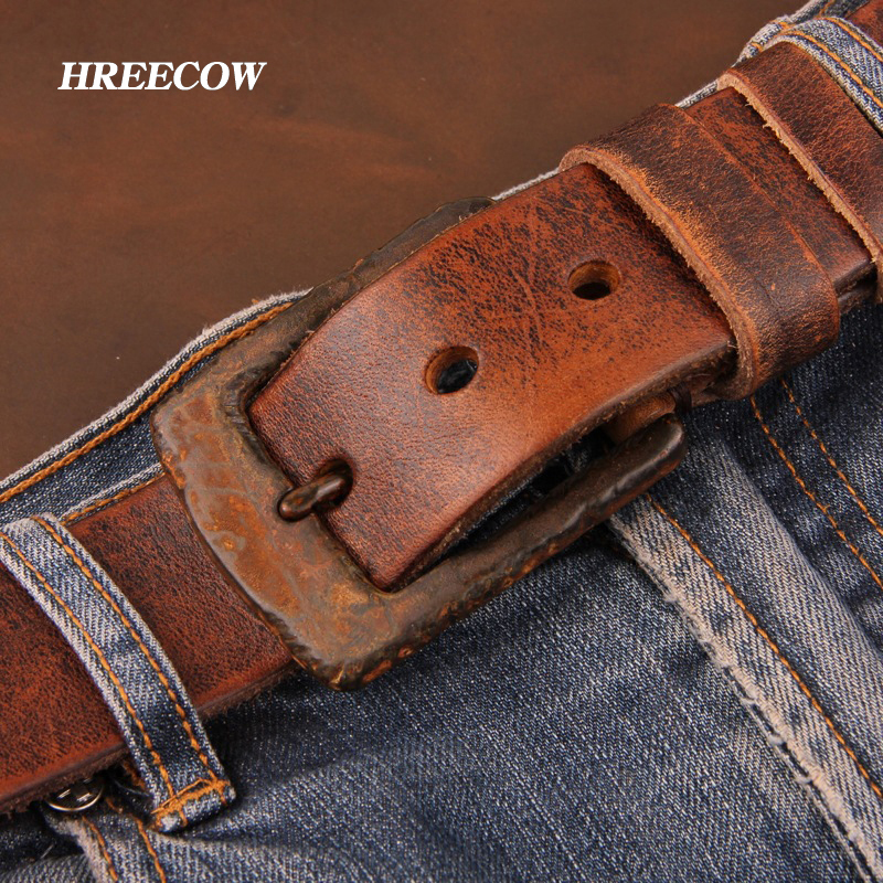 Personality Top Cow genuine leather belts for men jeans Do old rusty buckle retro vintage mens