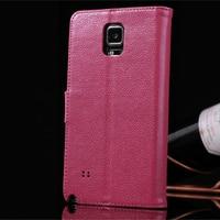 Para Samsung Nota 4 Caso Litchi Textura Cowskin Couro Flip Caso Fique Slots de Cartão Capa Carteira Frete Grátis