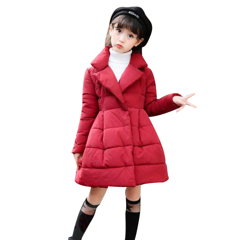 Children Cotton-clad Girls In Long Winter Clothing Warm Thickened Duvet Princess Gas Girl Winter Jacket Coat Clothes 12 Years цена 2017