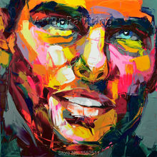 Palette knife painting portrait Face Oil Impasto figure on canvas Hand painted Francoise Nielly 13-34