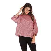 Fashion Tshirt Women O-Neck Puff Sleeve Loose Plaid T-shirt Female Long Shirt Korean Style Clothes