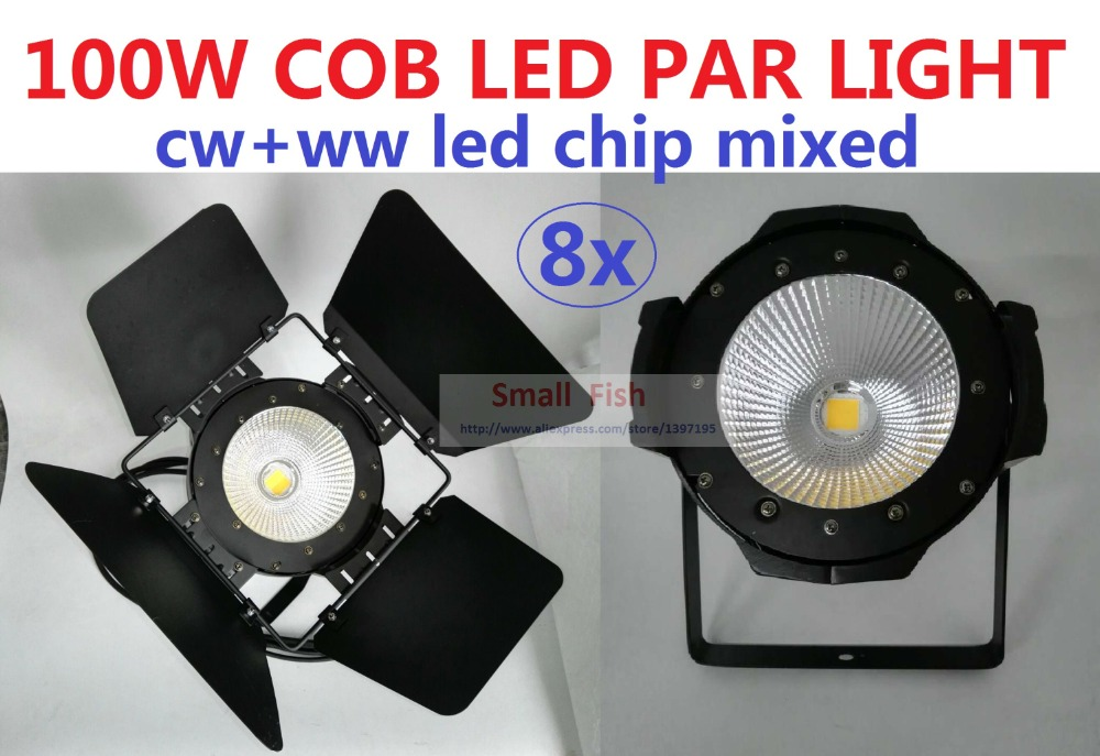 8xLot 2016 Stage Lighting Equipment 100W Cob Led Par Light White and Warm White Led Cob Par Can DJ Disco DMX For Theater Wedding litewinsune cw ww 100w cob led par can lighting 3200k 5600k wash stage lighting 6pcs