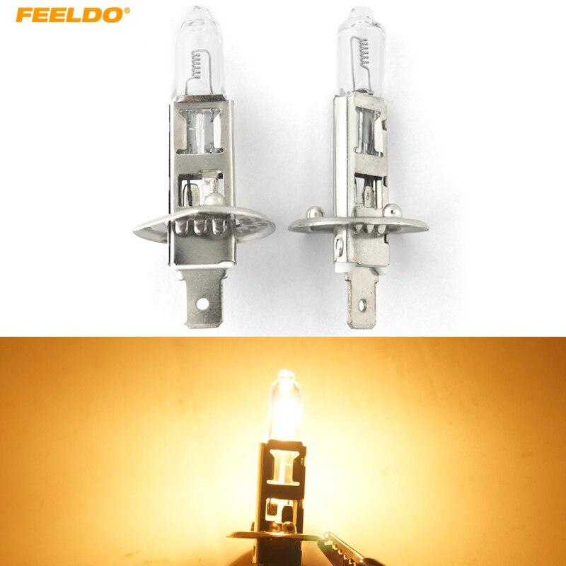 FEELDO 2Pcs Warm White Auto DC 24V 100W H1 Halogen Bulb Truck Bus Headlight Foglight Driving