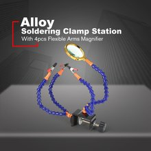 купить New Alloy Helping Hands Strange Arms Soldering Welding Bench Vise Table Clamp Station 4pcs Flexible Rotatable with Magnifier дешево