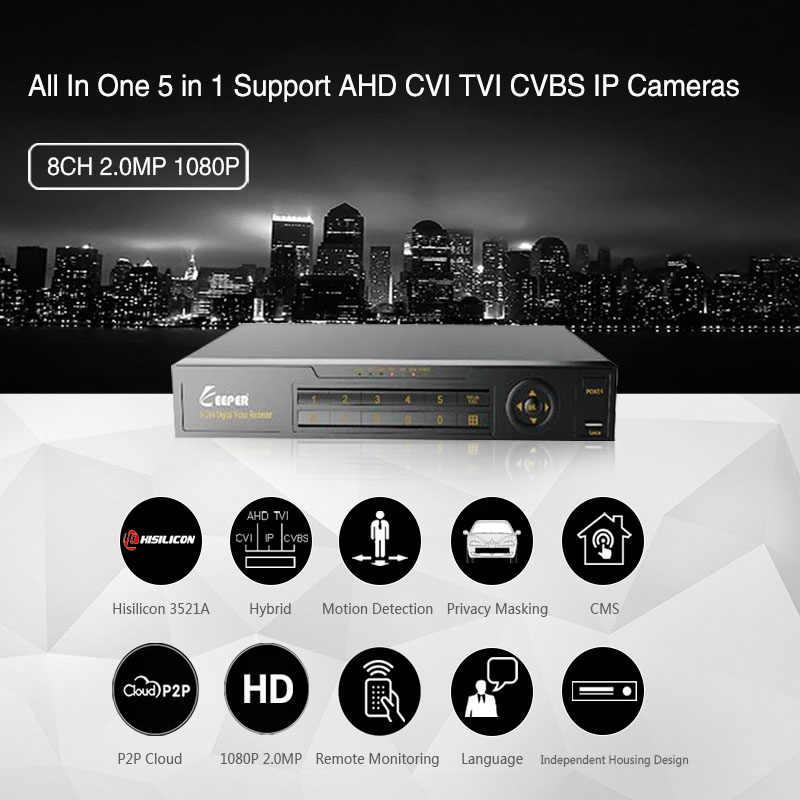 Guarda 8 canales 1080P AHD Full HD 5 en 1 híbrido DVR videograbadora de vigilancia para AHD Cámara TVI CVI AHD CVBS IP Cámara