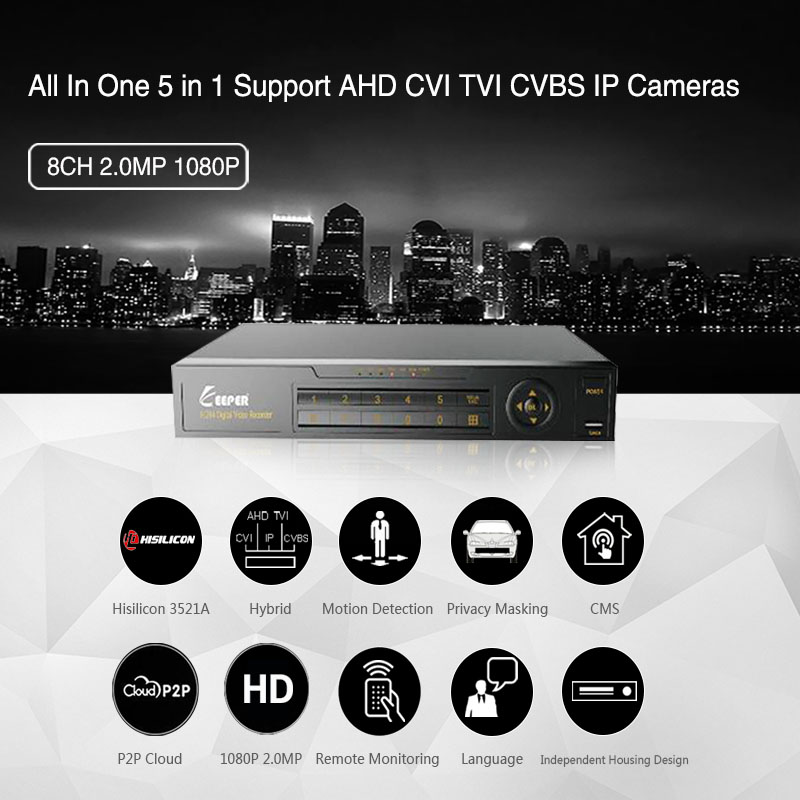 Guardián 8 canal 1080 p AHD Full HD 5 en 1 híbrido DVR Video Recorder para cámara AHD TVI CVI AHD CVBS cámara IP
