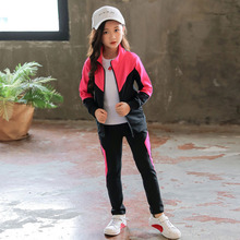 Girls Clothing Sets Spring Autumn Sports Suit Children Clothes Jackets+Pant Kids Outfits Girls Tracksuit 4 6 8 10 12 13 Years стоимость