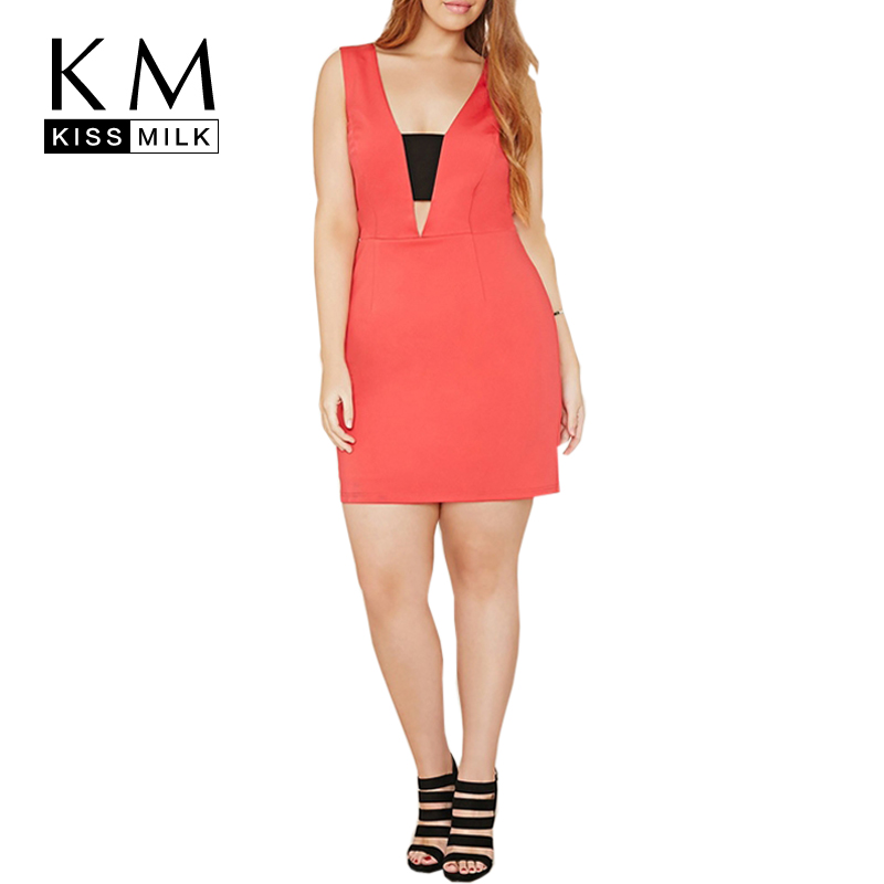 Kissmilk Plus Size Women High Wasit Classic Patchwork Dress Sleeveless Sexy Deep V Beach Dress Bodycon Slim Mini Dress 3XL 4XL in Dresses from Women 39 s Clothing