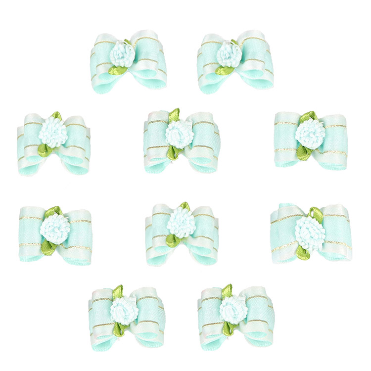 . Lt. Blue 10 RIBBON BOWS WITH BEADS