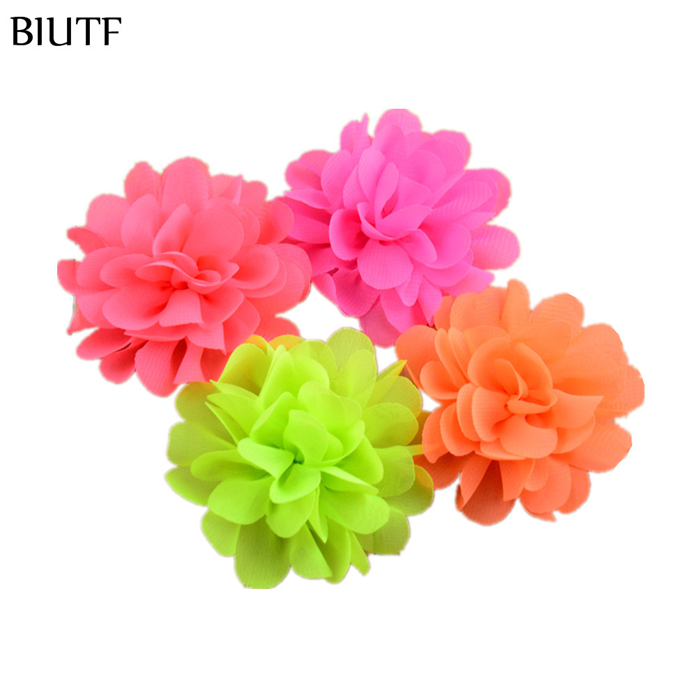 120pcs/lot 2.75In girls Chiffon Hair Flowers 30 Colors Neon Artificial Floral Flat Back DIY Kids Headwear Accessories MH70 halloween party zombie skull skeleton hand bone claw hairpin punk hair clip for women girl hair accessories headwear 1 pcs