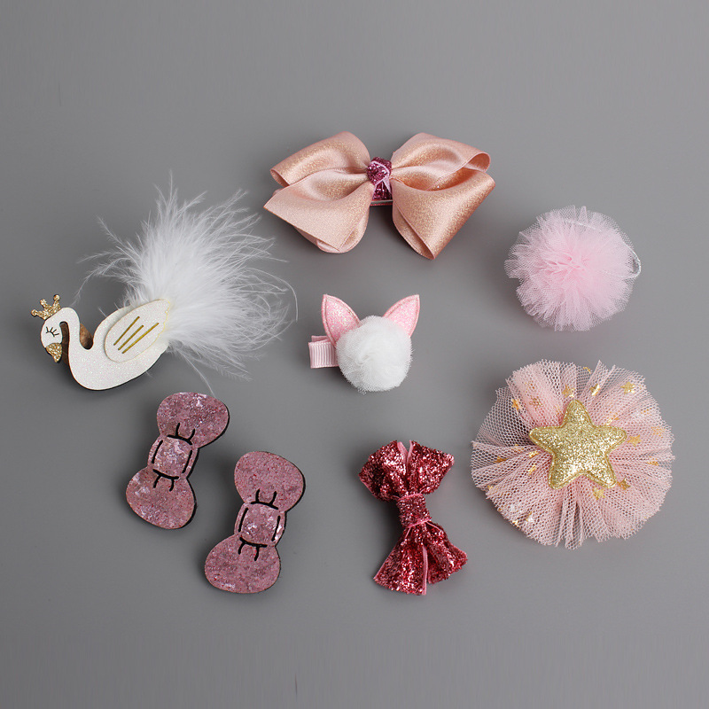 8 Pieces/lot Baby infant girl hairpins bow Crown pink hairclip hair accessories   headwear   Colorful Barrettes fille bebes enfant