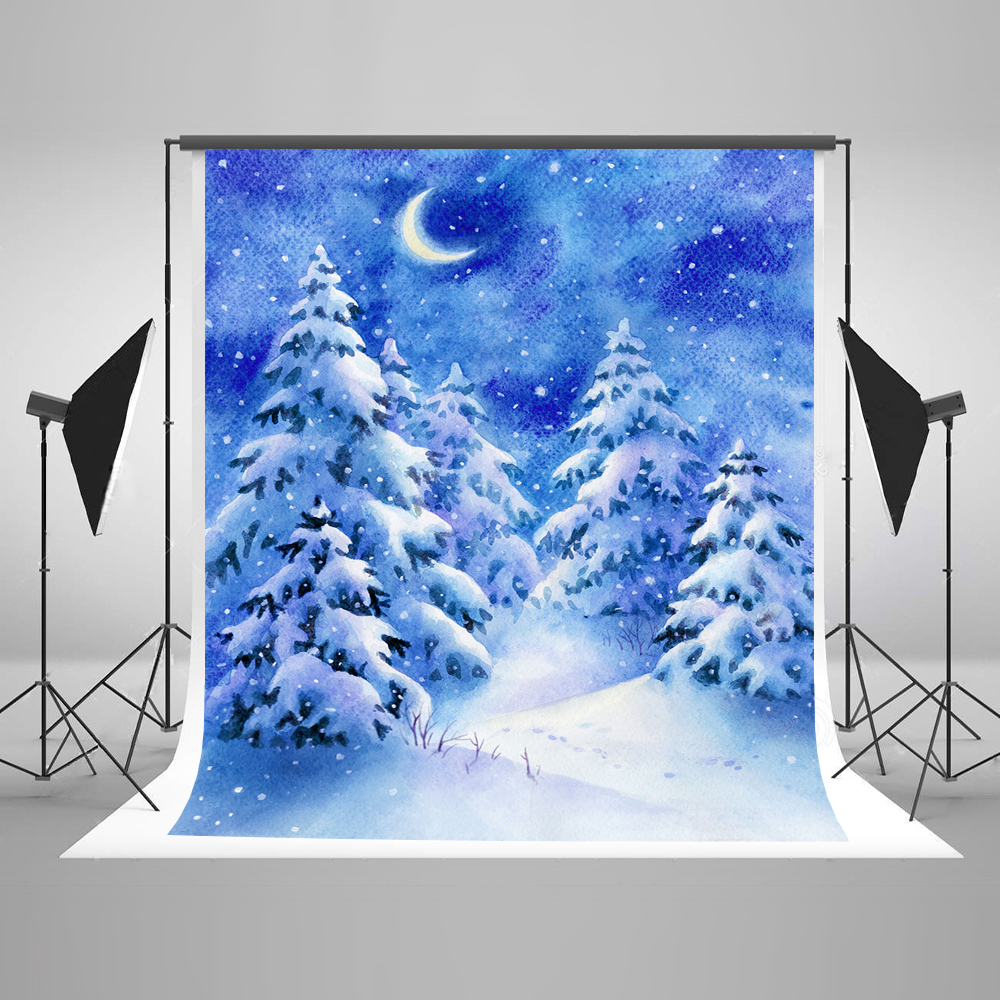 Kate 10x20ft Blue Christmas Photography Backgrounds Snow Tree Photo Booth Backdrop Children Backgrounds For Photo Sstudio цена и фото