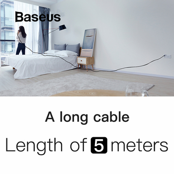 Baseus Nylon 5M USB Cable for iPhone 6 6s Plus 2A Fast Charging Cable Reversible for Apple iPhone Charger X 8 Plus Cable USB