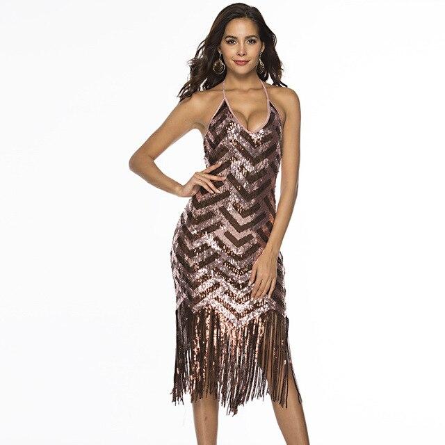 U-SWEAR Women Party Dress Robe Femme 1920s Great Gatsby Flapper Sequin  Fringe Midi Dress Summer Art Deco Retro Dress Vestido d4d1af381c2a