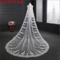 3 Meter Rhinestones Lace Sequins Luxury Cathedral Wedding Veils Long One Layer Bridal Veil with Comb Wedding Accessories