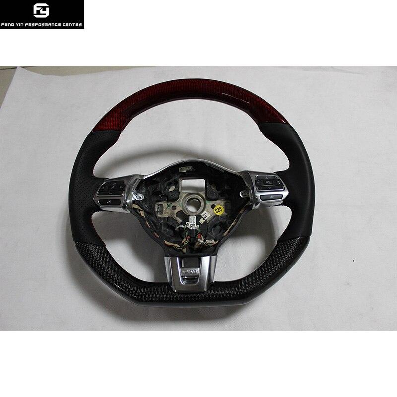 Volants de voiture en fibre de carbone style R en cuir pour Volkswagen Golf R style 09-15